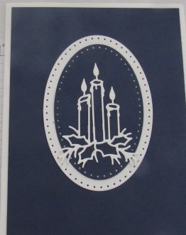 Candle Christmas Card-Blue